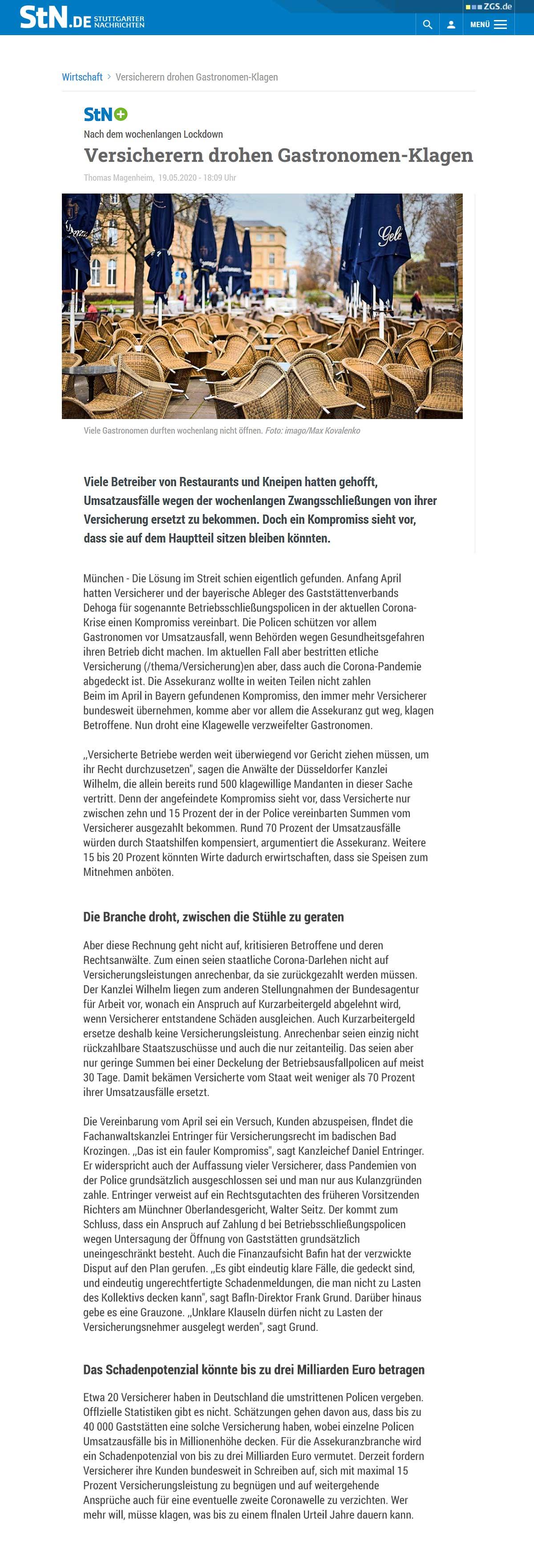 Betriebsschließungsversicherung Stuttgarter Nachrichten