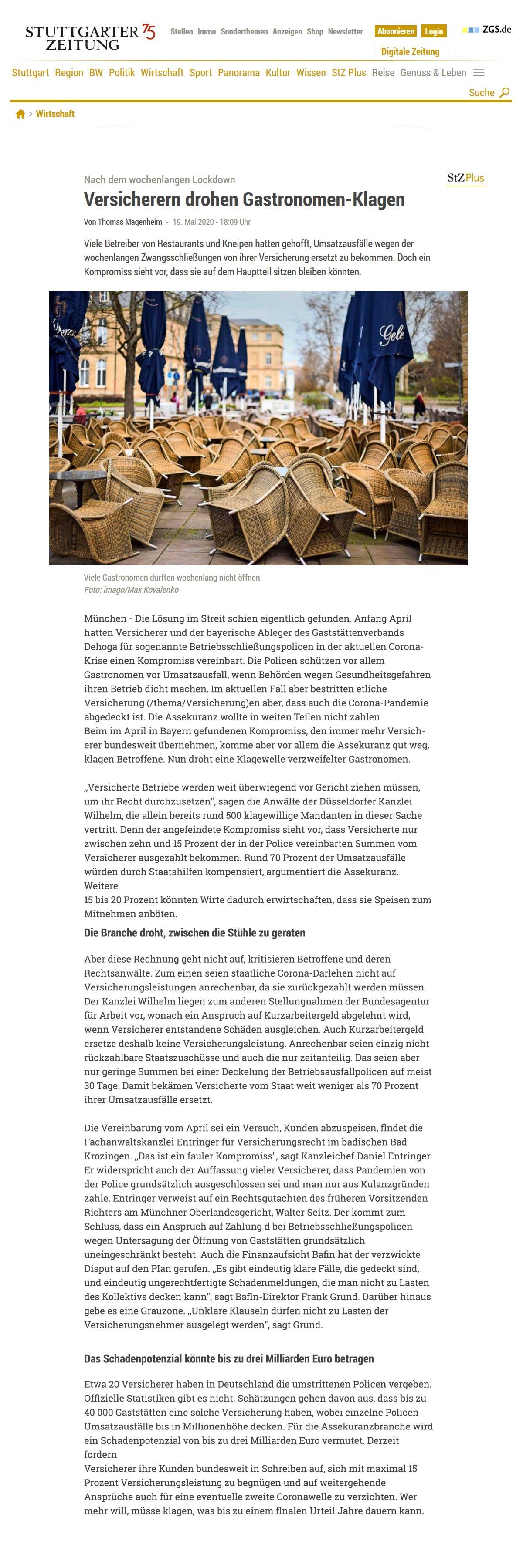 Betriebsschließungsversicherung Stuttgarter Zeitung