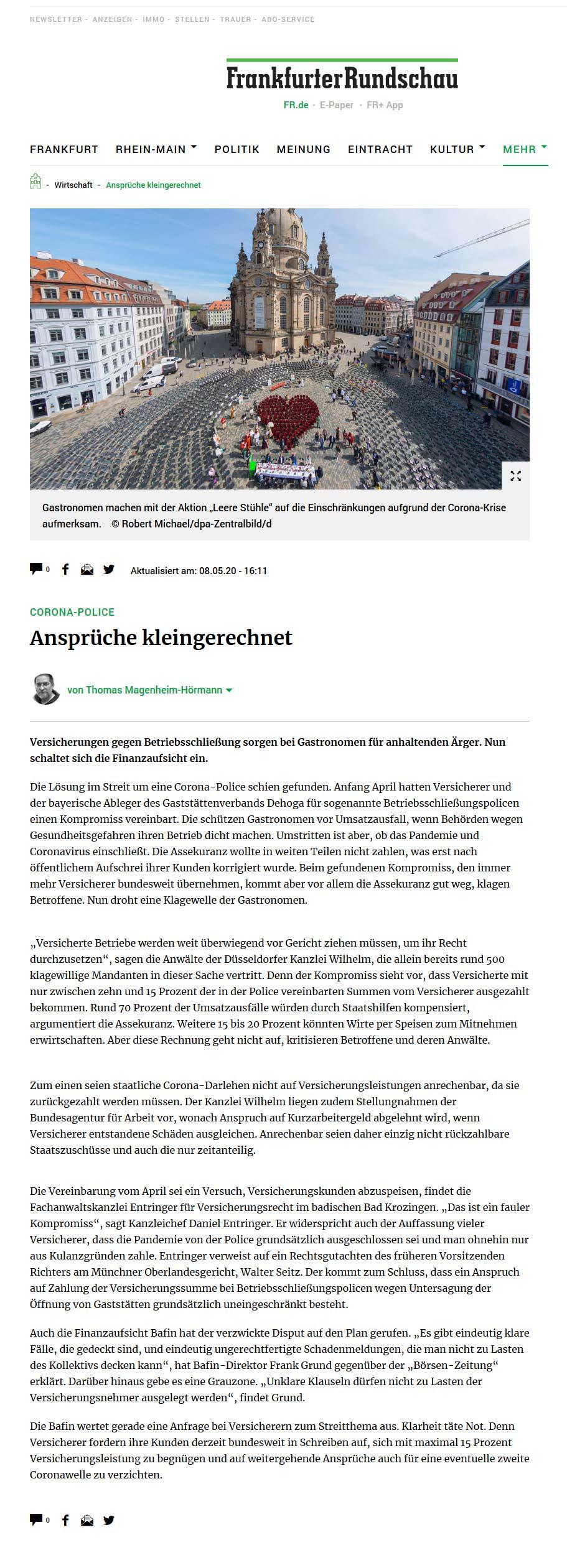 Betriebsschließungsversicherung Frankfurter Rundschau